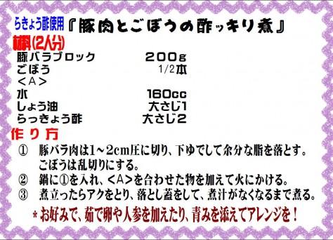 豚肉とごぼうの酢ッキリ煮>