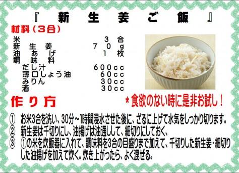 新生姜ご飯>