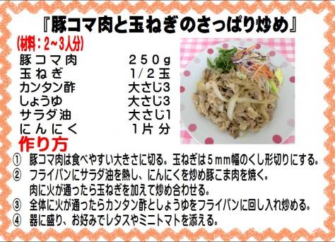 豚コマ肉と玉ねぎのさっぱり炒め>