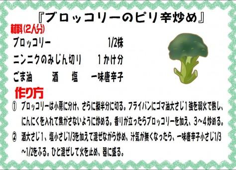 ブロッコリーのピリ辛炒め>