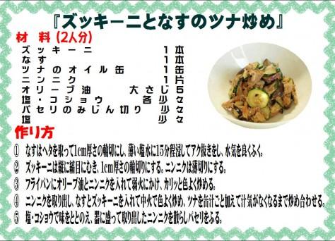 ズッキーニとなすのツナ炒め>